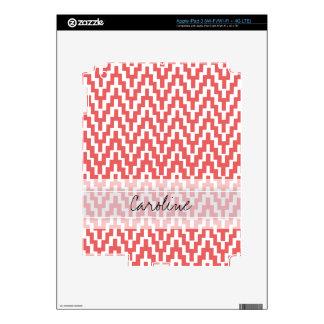 Monogram Pink White Ikat Chevron Zig Zag Pattern Decal For iPad 3