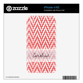 Monogram Pink White Ikat Chevron Zig Zag Pattern Decal For iPhone 4