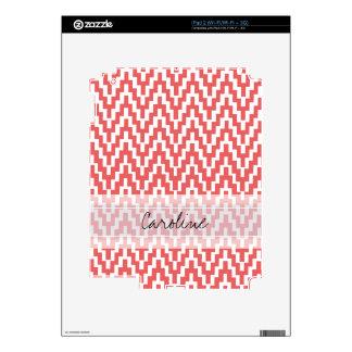 Monogram Pink White Ikat Chevron Zig Zag Pattern iPad 2 Decal