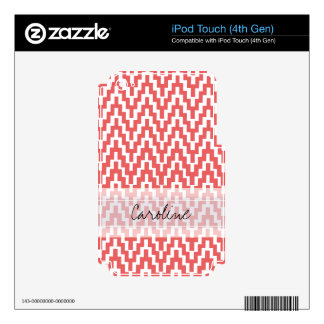Monogram Pink White Ikat Chevron Zig Zag Pattern iPod Touch 4G Decals