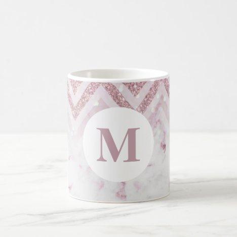 Monogram Pink White Marble Personalize Name Coffee Mug