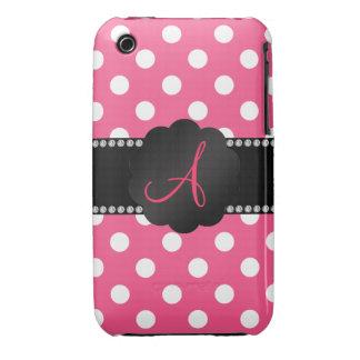 Monogram pink white polka dots iPhone 3 Case-Mate case