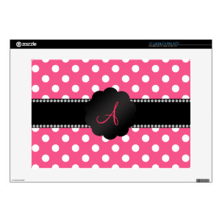 "Monogram pink white polka dots decal for 15"" laptop"