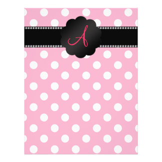 "Monogram pink white polka dots 8.5"" x 11"" flyer"