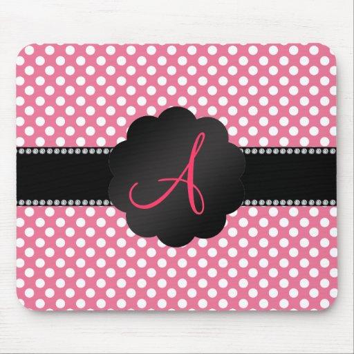 Monogram pink white polka dots mousepad