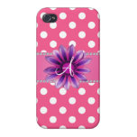 Monogram pink white polka dots purple daisy iPhone 4 cases