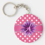Monogram pink white polka dots purple daisy key chain