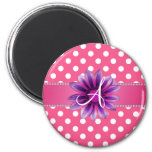 Monogram pink white polka dots purple daisy magnet