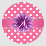Monogram pink white polka dots purple daisy round stickers