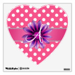 Monogram pink white polka dots purple daisy wall graphic