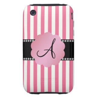Monogram pink white stripes tough iPhone 3 cover
