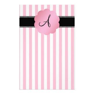 Monogram pink white stripes customized stationery