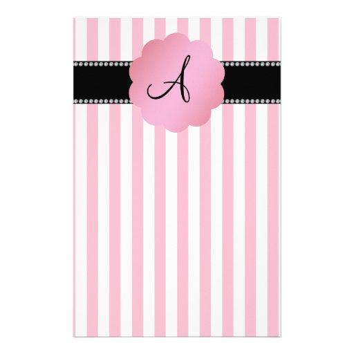 Monogram pink white stripes stationery