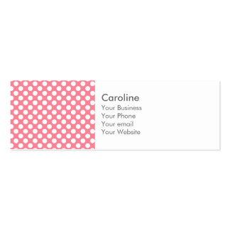 Monogram Pink White Trendy Fun Polka Dot Pattern Double-Sided Mini Business Cards (Pack Of 20)