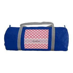 e2393981e8cb Monogram Pink White Trendy Fun Polka Dot Pattern Gym Bag