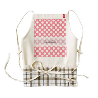 Monogram Pink White Trendy Fun Polka Dot Pattern Zazzle HEART Apron