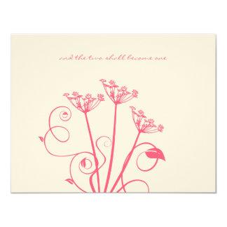 Monogram Pink Wild Flower Wedding RSVP Card