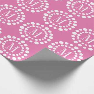 Monogram Pink Wrapping Paper Polka Dots
