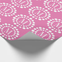 Monogram Pink Wrapping Paper Polka Dots