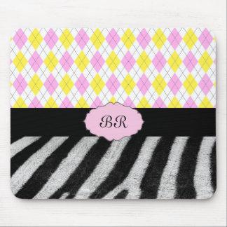 Monogram Pink Yellow Argyle Plaid & Zebra Pattern Mouse Pad