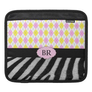 Monogram Pink Yellow Argyle Plaid & Zebra Pattern Sleeve For iPads