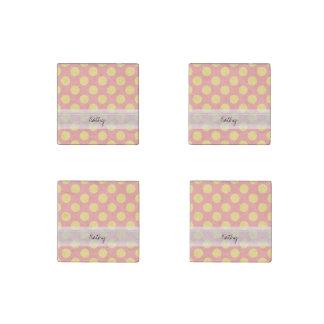 Monogram Pink Yellow Chic Polka Dot Pattern Stone Magnet