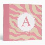 Monogram Pink Zebra Binder