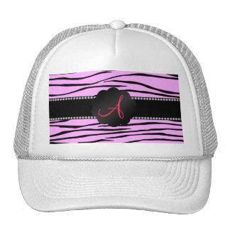 Monogram pink zebra stripes trucker hat
