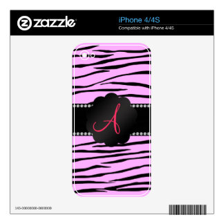 Monogram pink zebra stripes skin for the iPhone 4S