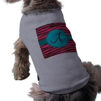Monogram pink zebra stripes turquoise circle doggie shirt