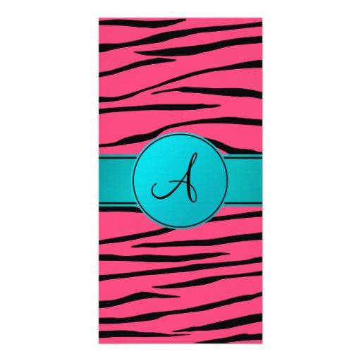 Monogram pink zebra stripes turquoise circle photo greeting card
