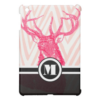 Monogram Pink Zig Zag Deer iPad Mini Case