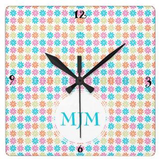 Monogram Pinwheel Wall Clock