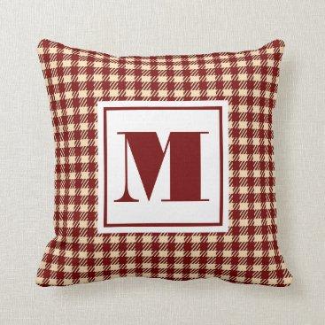 monogram_bouquet Monogram Plaid Throw Pillow