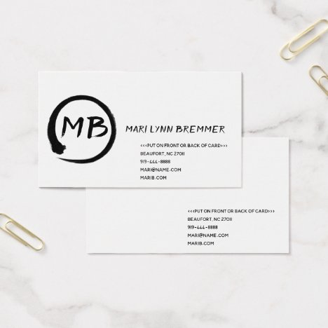Monogram plain businesscards in black business card