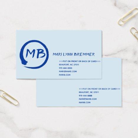 Monogram plain businesscards in blue business card