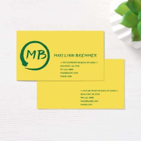 Monogram plain businesscards in green business card