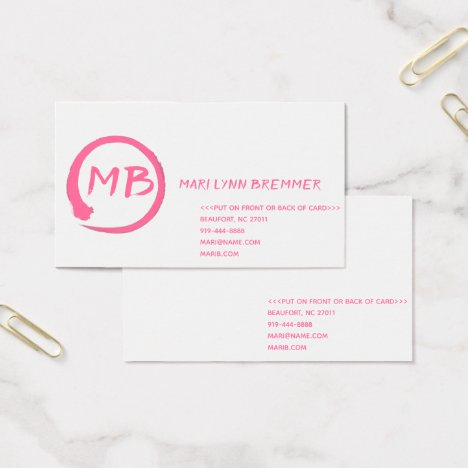 Monogram plain businesscards in pink business card