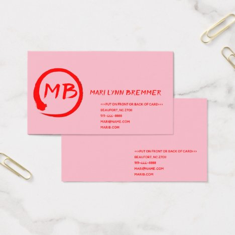 Monogram plain businesscards in red business card