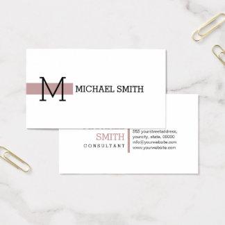 Monogram Plain White Elegant Modern Tuscany Business Card