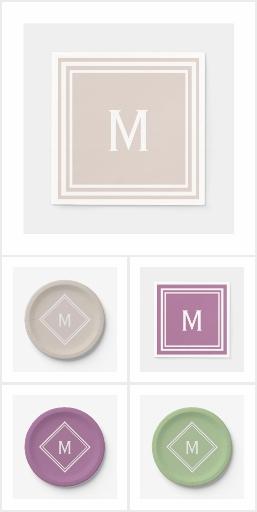 Monogram Plate and Napkin Sets