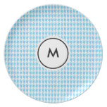 Monogram Plates     Blue and White Houndstooth