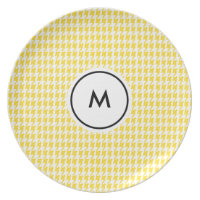 Monogram Plates  |  Yellow and White Houndstooth