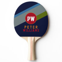 monogram player's name & initials on cool modern ping pong paddle