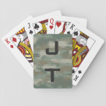 """Monogram playing cards with pixel army camouflage<br><div class=""""desc"""">Monogram playing cards with pixel army camouflage pattern. Personalized monogrammedmilitary / hunting camo design. Cool initialed gift idea for poker players. Make your own for dad,  father,  uncle,  husband,  brother,  son etc.</div>"""