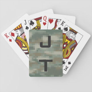 Monogram playing cards with pixel army camouflage