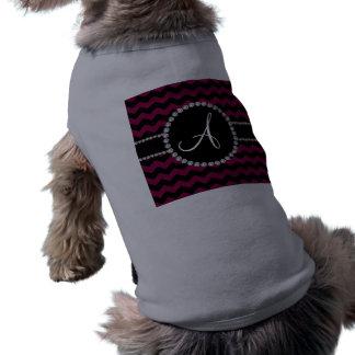 Monogram plum black chevrons black circle doggie tee