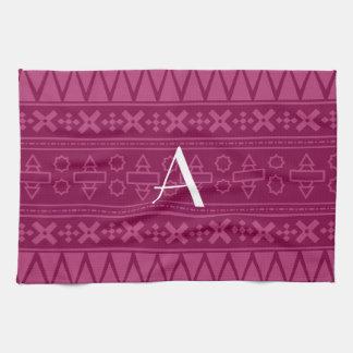 Monogram plum purple aztec pattern hand towels