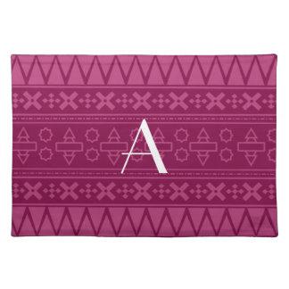 Monogram plum purple aztec pattern placemats