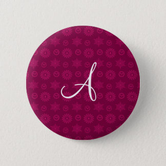Monogram plum purple christmas stars snowflakes button